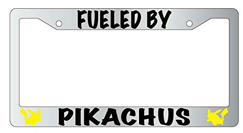 License Plate Frames, Fueled By Pikachus License Plate Frame Pokemon Universal Car License Plate Bracket Holder Rust-Proof Rattle-Proof Weather-Proof 15x30cm