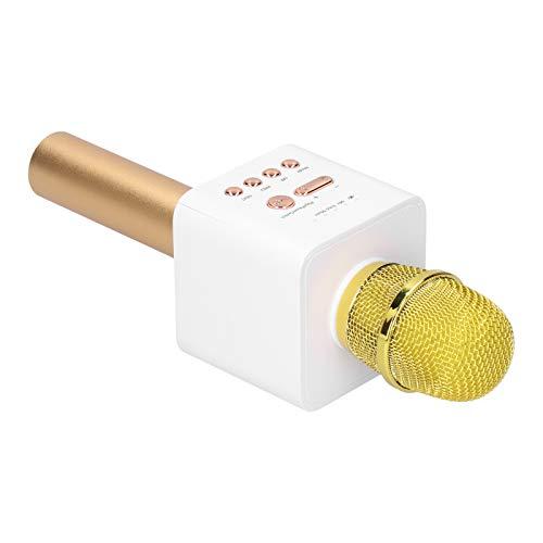 Velaurs Mic, Cable de Audio de 3,5 mm, máquina de Karaoke 5,0, Sonido estéreo HiFi para Grabar para Cantar para teléfono móvil para Escuchar(Champagne Gold)