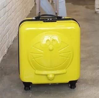 Mdsfe New Children Cartoon Luggage 3D Cat Luggage Rolling Wheels Trolley Suitcase Bag Cute kids Suitcase with wheels - Yellow, 18'