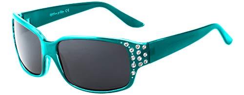HZ Series Diamante - Occhiali da sole polarizzati da donna Premium di Hornz Turchese Tropical Teal Frame - Dark Smoke Lens