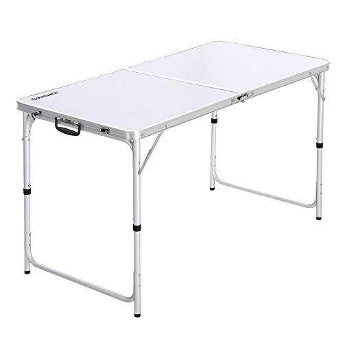 Songmics GAT01WT Campingtafel, klaptafel, 120 cm lang, tuintafel met stabiele aluminium poten, inklapbare campingtafel met handgreep voor gemakkelijk transport, in hoogte verstelbaar, camping, wit