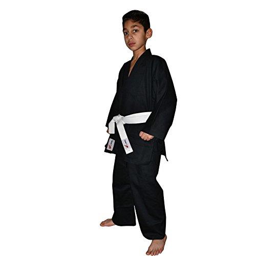 TurnerMAX–Kimono de Karate Artes Marciales algodón TAE KWON DO Uniforme Niños Jiu Jitsu Gi Judo niños Adultos Ropa Negro 110
