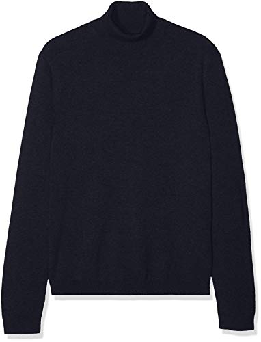 Amazon-Marke: find. Herren Pullover Cotton Roll Neck, Blau (Navy), L, Label: L