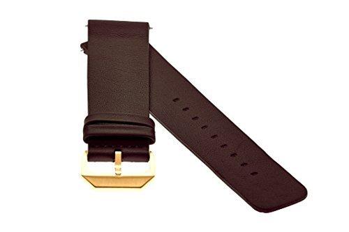 slow - Dunkelbraunes Lederband mit goldenem Verschluss - 20mm Breite