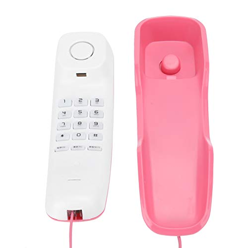 Pusokei Wandtelefon Festnetztelefone schnurlos mit Rauschunterdrückungsfunktion, Pausenfunktion und Stummschaltung, Telefon Festnetz Basistelefon, Wandtelefone für Festnetz(Rosa)