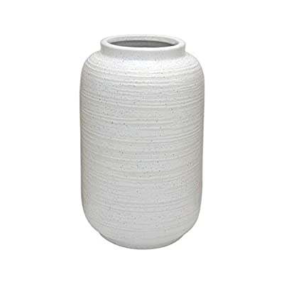"Amazon Brand – Stone & Beam Textured Modern Vase, 12.4""H, White"