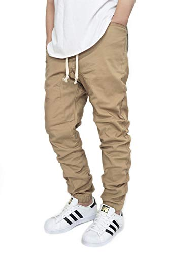 URBANJ Men's Stretch Twill Drop Crotch Jogger Pants S-5XL (L(34), Khaki)