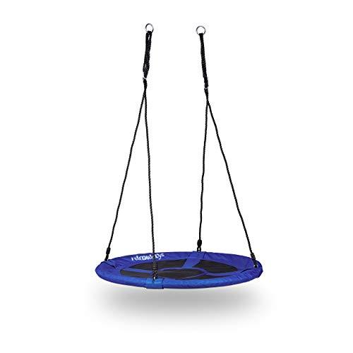 Relaxdays 10020820_651 Nestschaukel rund für den Garten, bis 100 kg, geschlossener Sitz, HBT: 153 x 90 x 90 cm, dunkelblau