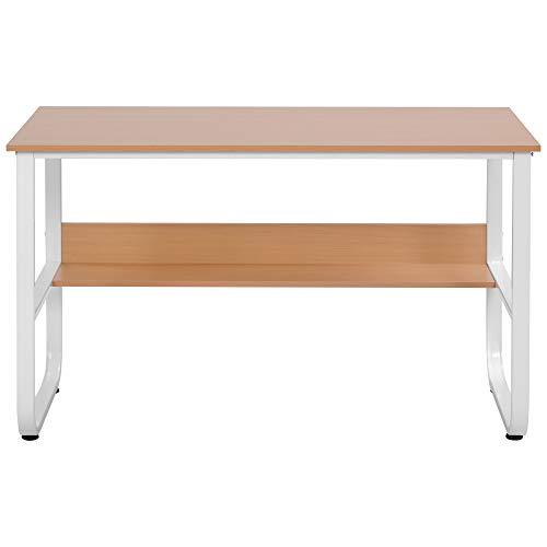 Escritorio, mesa de ordenador con estante, mesa en forma de U para oficina en casa, en color madera, 120 x 60 x 73 cm