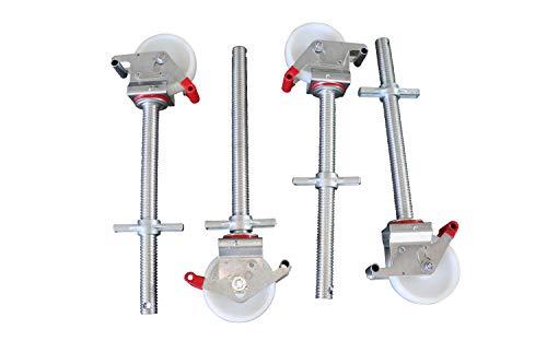 4 Stück Gerüstrollen 150 mm Nylon mit Stahlspindel, doppelt gebremst, lotrecht stehend, passend zu Layher-Gerüsten und anderen Herstellern