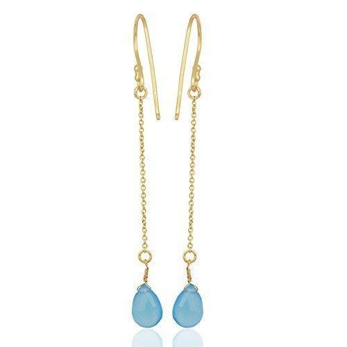 Blue Chalcedony Gemstone NEW Dallas Mall Threader Earrings Dangl Silver Long 925