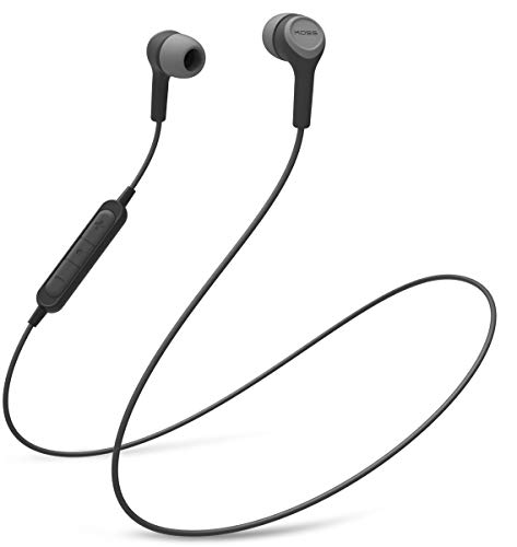 Koss BT115i Wireless Bluetooth Earbuds, In-Line Microphone, Volume Control and Touch Remote, Sweat Resistant, Dark Grey and Black