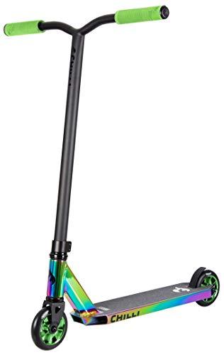 Chilli Rocky Scooter Grind Limited Edition neochrome/green | Erstklassiger Stunt-Scooter | Robuster Roller, drehbarer Lenker ideal für Tricks geeignet | Leicht & schnell für maximales Fahrvergnügen