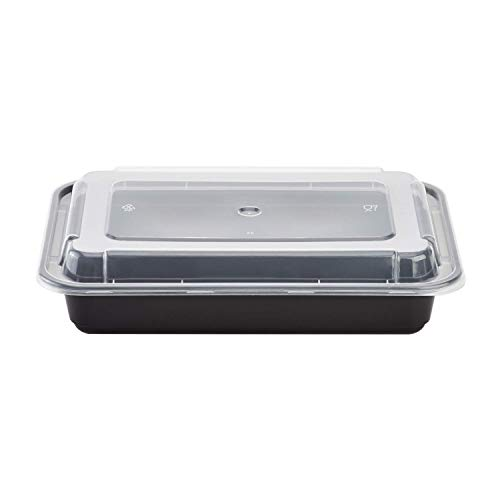 Karat IM-FC1028B 28 oz. PP Injection Molding Microwaveable Food Containers with Clear Lids, Rectangular - Black (Case of 150)
