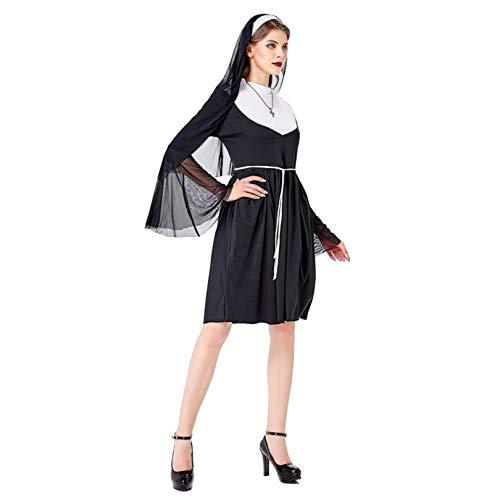 KIDsportxie Disfraz de monja para mujer, disfraz de Halloween, sexy, para sacerdote religioso, para fiestas temticas, juego de rol, disfraz de Navidad, talla grande, color negro