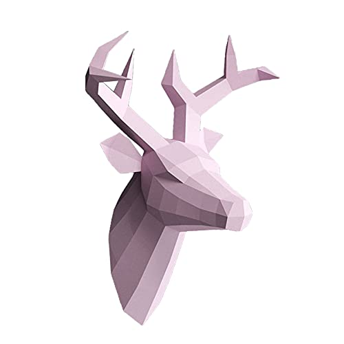 Baoblaze Escultura de Papel DIY de Cabeza de Ciervo, DIY Escultura de Papel, Kit de Arte de Papel precortado, Cabeza de Animales, decoración de Pared, Regalo - Rosa