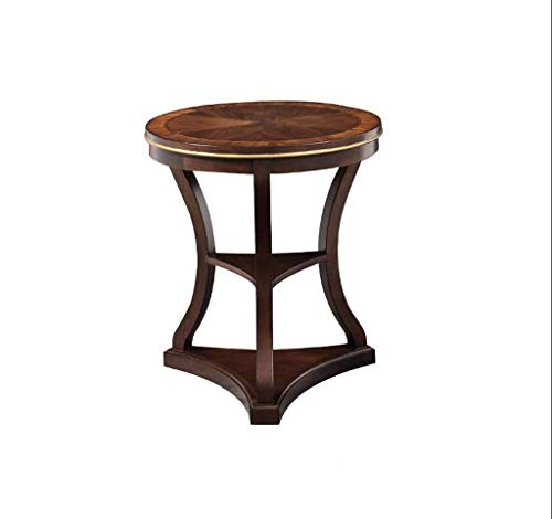 HYY-YY Mesa de café estilo americano mesa redonda de madera mini doble capa clásica sala de estar mesa auxiliar retro