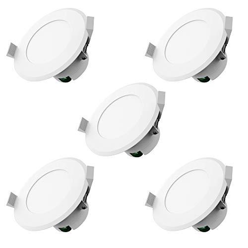 LED Einbauleuchten Dimmbar IP44 Farbe Weiss 5 x 8Watt 230 Volt 720lm Warmweiss LED Einbaustrahler LED Spots