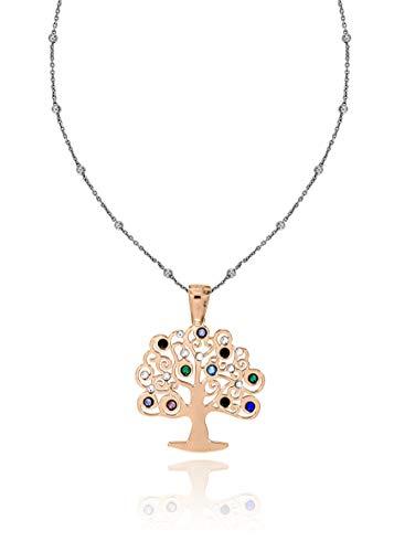Baum des Lebens Halskette aus 925er Silber Geschenkidee Angebot (Kupferrot Baum Steine)