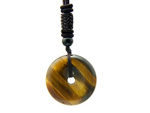 Agathe Creation COT11 - Collar con diseño de Donut o Pi chino de la suerte – Hebilla de piedra de ojo de tigre