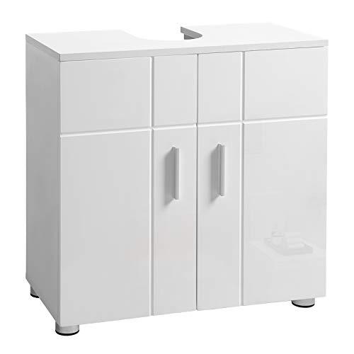 VASAGLE Badkamerkast met dubbele deur en verstelbare planken, onderkast met scharnierdemping en nivelleringsvoeten, 60 x 30 x 60 cm, wit BBK02WT