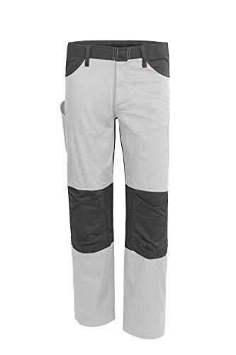 Qualitex Serie X, pantaloni da lavoro unisex, lunghi da uomo e donna, pantaloni cargo, molte tasche, pantaloni da lavoro artigianali, pantaloni di montaggio, tasche imbottite bianco/grigio 58
