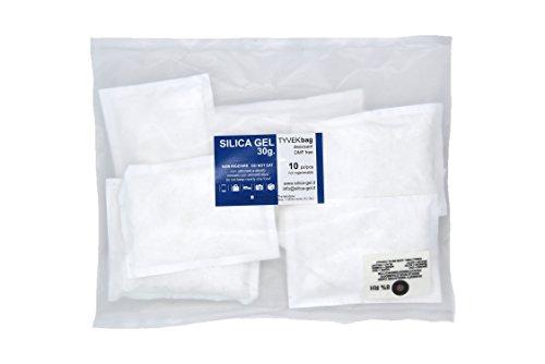 10 bustine disidratanti silica gel 30 grammi involucro Tyvek specifiche DIN e MIL esenti Dimetilfumarato