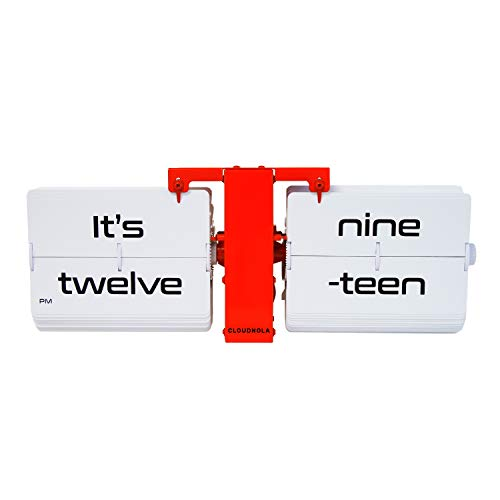 Cloudnola Flipping Out Text Wall and Tabletop Flip Clock, Red and White, Battery Operated Digital Display