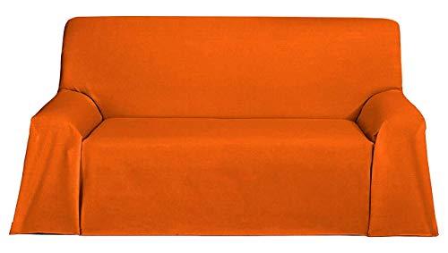 BENEDETTAHOME Colcha Foulard Multiusos Levante para sofá y para Cama, Algodón-Poliéster 230x270cm. Naranja.