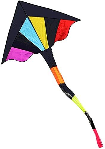 LIOYUHGTFY Flugdrachen Drachen Für Kinder Dreieckiger Langschwanzdrachen mit Drachenleine und Drachenrolle,Einfach zu Fliegender Regenbogen-Einsteigerdrachen,Perfekt für Outdoor-Aktivitäten-Bunt 71