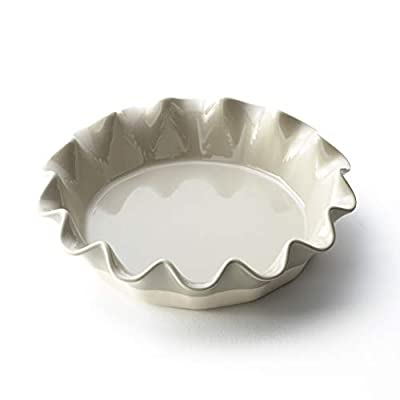 Stoneware Pie Plate with Ruffled Edge - Baking Dish for Pastries, Brunch - Gray