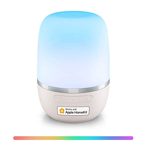 Smart WiFi Table Lamp, Support Apple HomeKit, Siri, Amazon Alexa, Google Assistant and SmartThings, Tunable White and Multi-Color Bedside Lamp, Voice Control, APP Control, Schedule