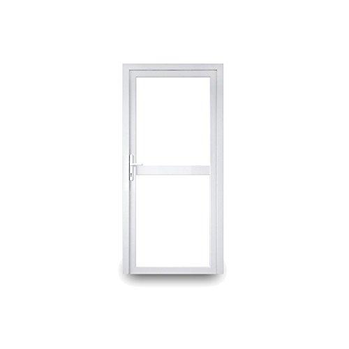 Nebeneingangstür - Klarglas oben und unten mit Mittelbalken - 2-fach-Verglasung - 60mm Profil - außen Knauf - BxH: 1000x2000 - DIN Links