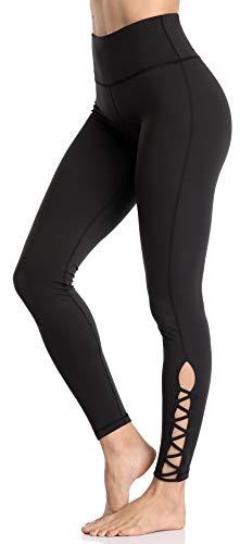 Anwell Laufleggings Damen mit Hohem Bund Tights Sport Leggings Damen schwarz Kompression lang Laufleggings Thermo Blickdicht L