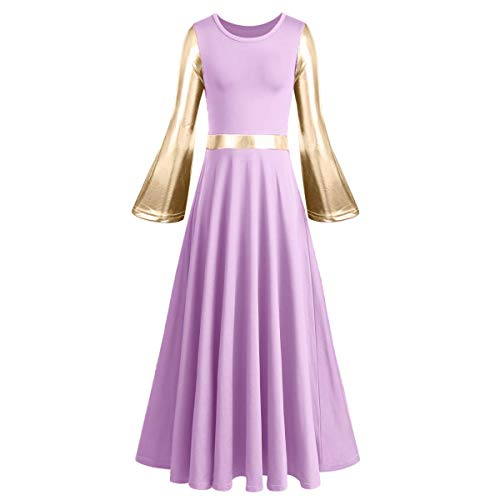 Womens Praise Long Sleeve Full Length Tunic Dance Skirt Adult Metallic Gold Glory Liturgical Worship Robe Dress Loose Fit Lyrical Ballroom Choir Maxi Dancewear Workout Costume Gown 092 Lavender M