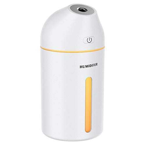 Cool Mist Humidifier, 19dB USB Portable Desktop Humidifier, 320ML Humidifier for Bedroom, Up to 8 Hours, 2 Mist Modes Auto Shut Off for Car Baby Bedroom Travel, All White
