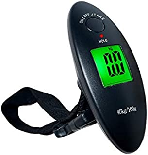 JJJJD Baggage Scale Portable Luggage Scale Black Plastic with Backlit Electronic Scales, Suitable for Families, Travel, Shopping (Maximum Weight 40Kg)