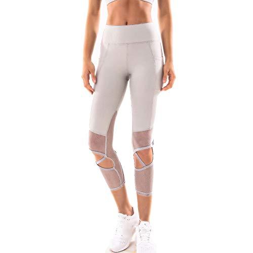 ZLSD Mallas De Deporte Mujer, Suaves Elásticos Cintura Alta Leggins Pantalon Deporte Yoga para Reducir Vientre,Grey-6