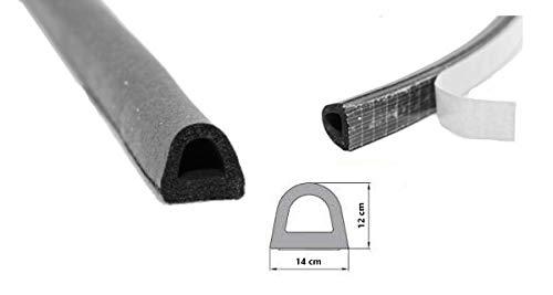 Selbstklebende Gummidichtung 14x12 mm EPDM Schwarz Türdichtung 1m Hohlkammerprofil