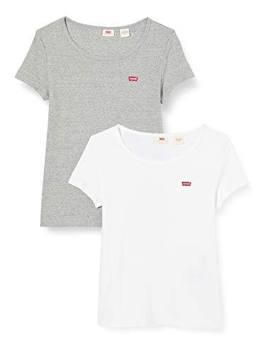 Levi's 2Pack Camiseta, 2 Pack tee White +/Smokestack Htr, S para Mujer