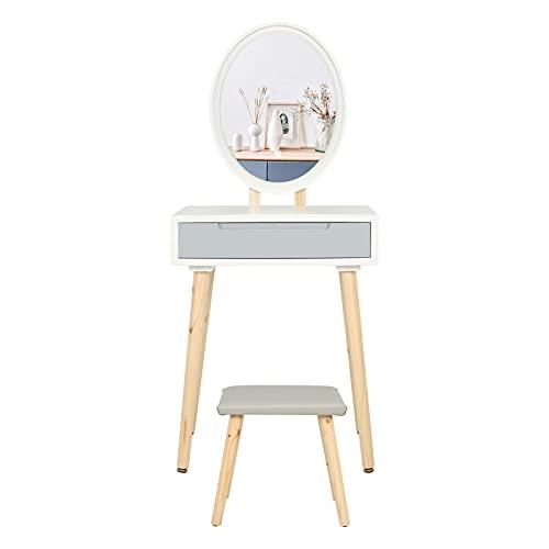 YU YUSING Tocador de Maquillaje con luz, 1 cajones, Organizador extraíble, Mesa cosmética con Taburete tapizado, para Dormitorio, vestidor, Moderno, Espejo Ovalado