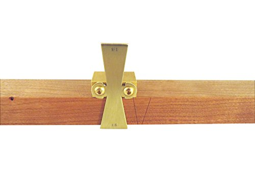 """Taytools Solid Brass Dovetail Marking Jig Dovetail Marker for Stock up to 1"""" Thick with Slopes 1:5 (softwoods) and 1:8 (hardwoods). DTSB5-8"""
