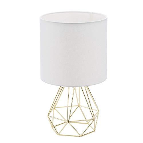 VONLUCE Lámpara de Mesita de Noche en Forma de Diamante Lámpara de Mesa Moderna para Salón y Dormitorio Lámpara Luz de Noche Color Dorado