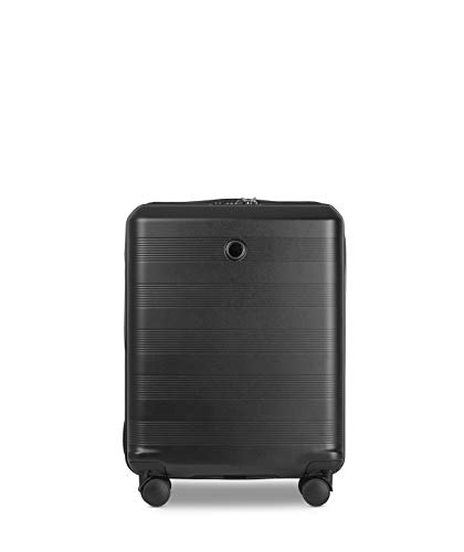 ECHOLAC Cielo - EchoLite Polycarbonate Lightweight Small 55 cm Carry-On Cabin Hand Luggage with Security Zipper, and 8-Year No Break Warranty, Black