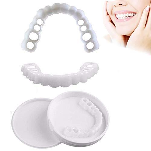 künstliche Zähne Provisorischer Zahnersatz Zahnprothese Veneer für Oberkiefer, Sofortiges Lächeln Zähne Wiederverwendbare und Abnehmbaren, 3 Paare