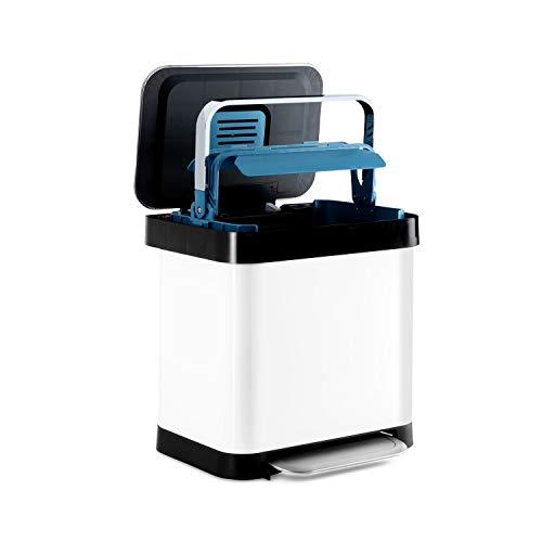 Klarstein Trash Inn – cubo de basura, filtro para olores, acero inoxidable, soporte práctico para bolsas de basura, agarre compacto de acero inoxidable, mecanismo de separación, 30 litros, blanco