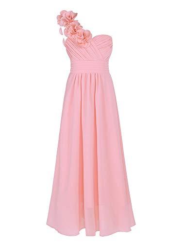 YiZYiF Vestido Boda Fiesta Niñas Vestido Ceremonia Largo Vestido Princesa Elegante Hombros con Flores Traje Maxi Dama de Honor Comunión 4-14 Años