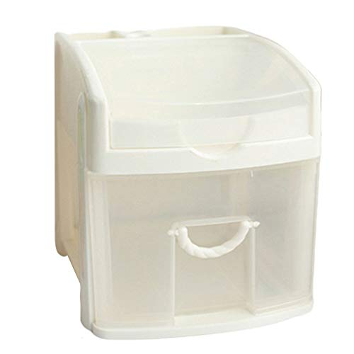 Courage Ouyang - Caja de almacenamiento de cosméticos multifuncional para 1er piso, gran capacidad, duradera, color blanco