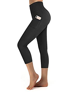 Promover Yoga Pants Capri Leggings with Pockets for Women High Waist Tummy Control Running Workout Pants Non See-Through