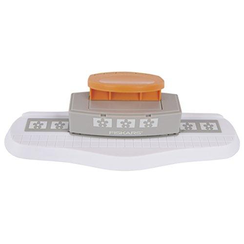 Fiskars Bordürenstanzer Starter-Set, Mit austauschbaren Motivkartuschen, Grau/Weiß/Orange, 1004688